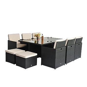 outsunny set muebles de jardin negro y blanco ratan y aluminio piezas