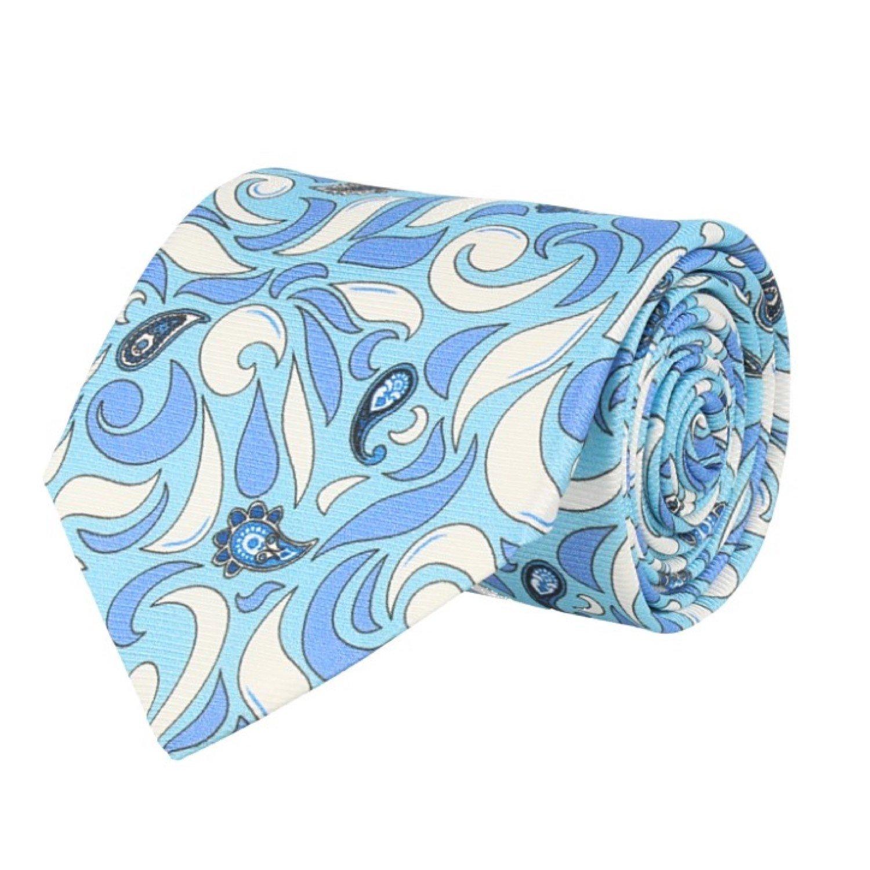 Marcell Sanders Corbata clásico de seda azul claro blanco paisley ...