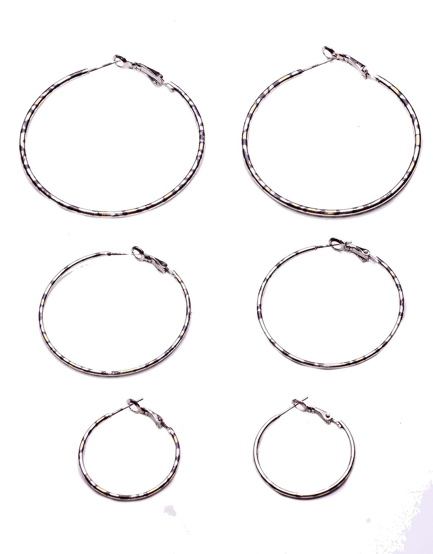 ZX38 SET OF THREE HOOP EARRINGS IN SILVER METAL AND LEOPARD PRINT FOR PARTIES