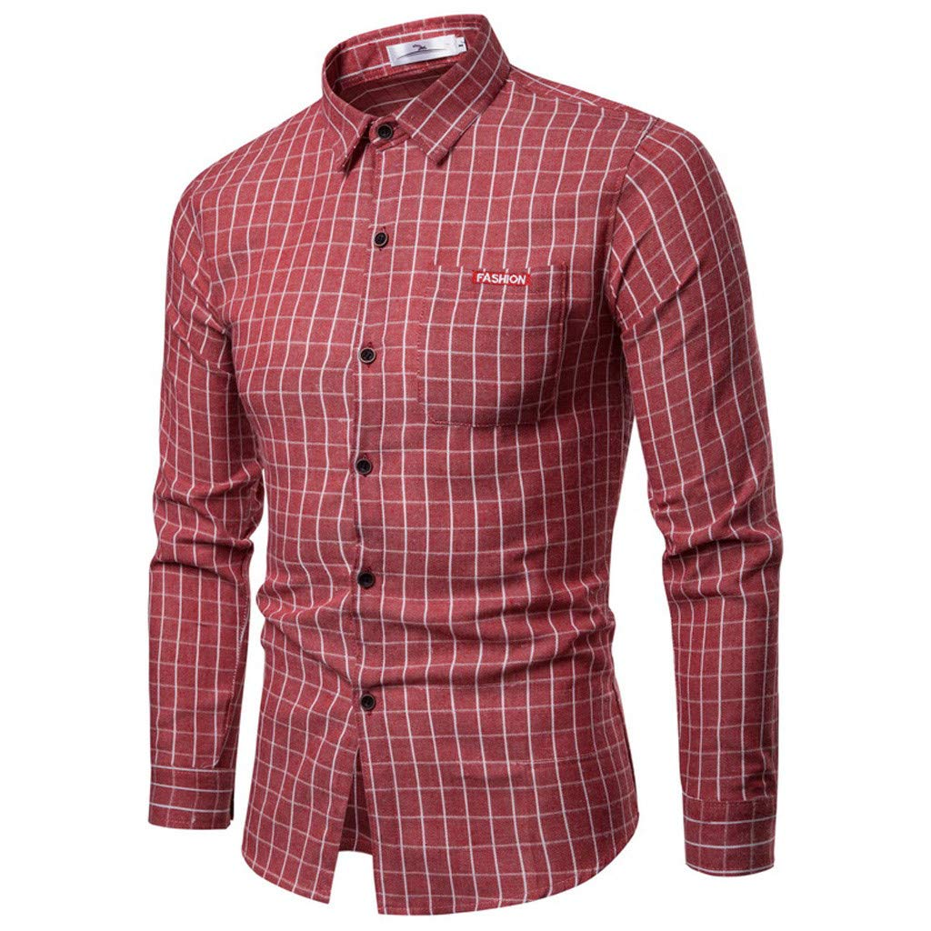 Baiggooswt Mens Casual Long Sleeve Business Leisure Plaid Print Button Down Shirt Slim Fit Tops Party Office Blouse