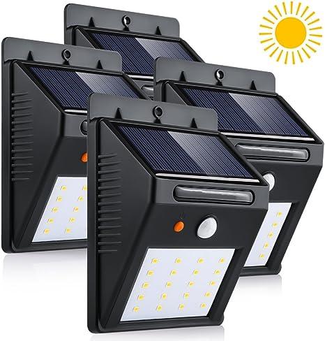 Luz de Solar, Luces Solares LED de Pared, Blanco 6000K PIR Sensor ligero 20 LED solar impermeable...