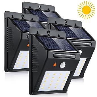 4 Pack Lampe Solaire Led A Detecteur De Mouvement 20 Led Etanche