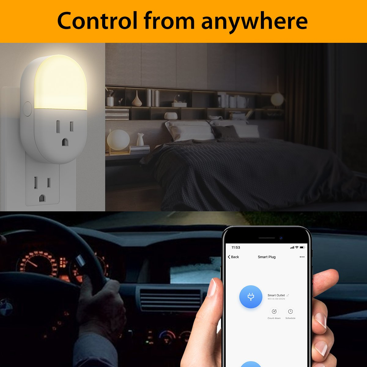 iMah Night Light Plug-in, Smart Plug works with Alexa Google Assistant IFTTT, WiFi Smart Plug Mini Outlet Socket control your Devices from Anywhere (4-Pack) by iMah (Image #8)