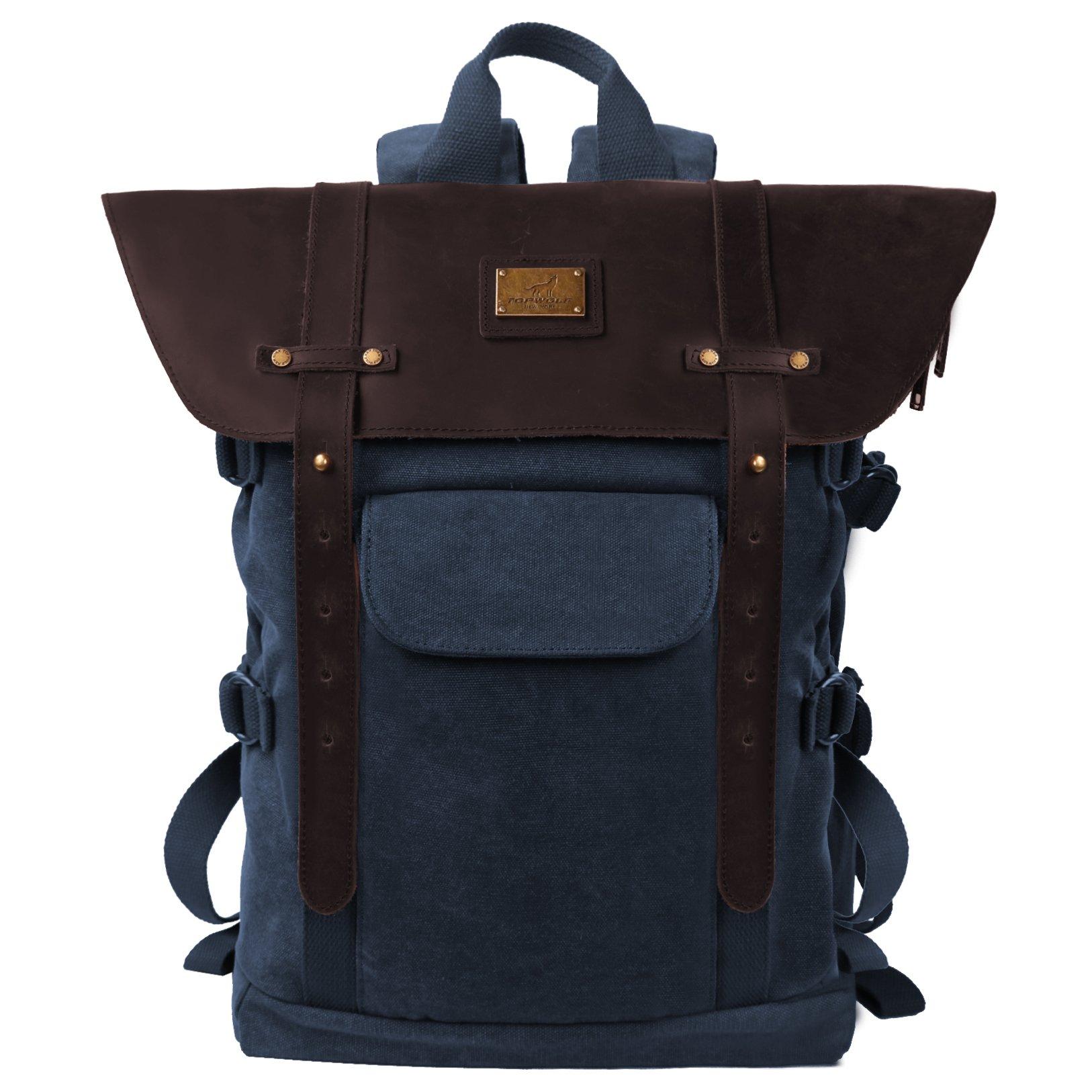 TOPWOLFS Vintage Backpack Leather Canvas Rucksack fit 15.6'' Laptop Genuine Leather Anti-theft Pocket Multifunction Books School Travel Bag