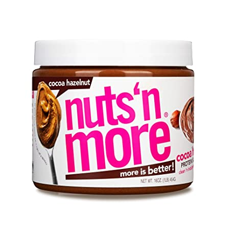 Nuts 'N More Cocoa Hazelnut Butter Spread, All Natural Keto Snack, Low Carb, Low Sugar, Gluten Free, Non-GMO, High Protein Flavored Nut Butter (16 oz Jar)