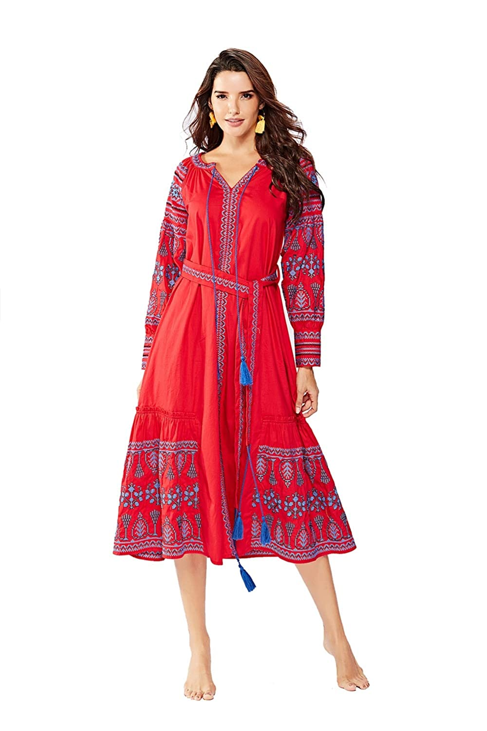Womens Embroidery Dress VNeck with Belt Large Swing Loose Evening Gown,XL