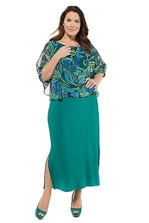 Ulla Popken Women S Plus Size 2 Piece Vintage Floral Dress Dark