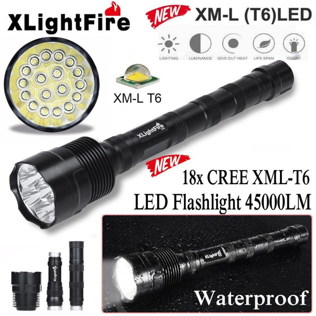 Handheld Flashlights,Lookatool XLightFire 45000 Lumens 18x XML T6 5 Mode 18650 Super Bright LED