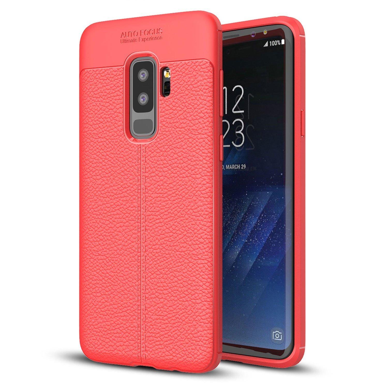 C/árcasa Ultra Slim Silicona con Cuero Dibujos Impresi/ón Patr/ón Suave TPU Bumper Case Cover Fundas para Movil Samsung Galaxy S9 Plus Eouine Funda Samsung Galaxy S9 Plus Rojo