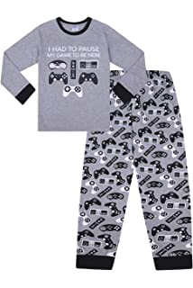 15-16 Years Boys Space Invader Game On Controller Long Pyjamas 7-15 Years Green Navy