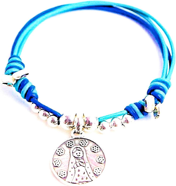 Kokomorocco Pulsera Medalla Virgen niña de Plata de Ley y Cuero de Colores Regalos Originales