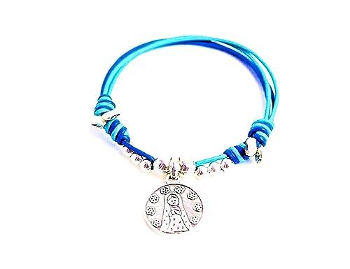 743a43168ad9 Kokomorocco Pulsera Medalla Virgen niña de Plata de Ley y Cuero de Colores  Regalos Originales