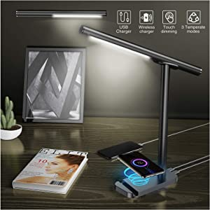 Aeakey LED Desk Lamp - Detachable Lamp Head (Wall Lamp, Torch, Table Lamp) - USB and Wireless Phone Charging - Dimmable Office Lamp with Warm and Cool Light Modes - 360° Rotating Head (Black)