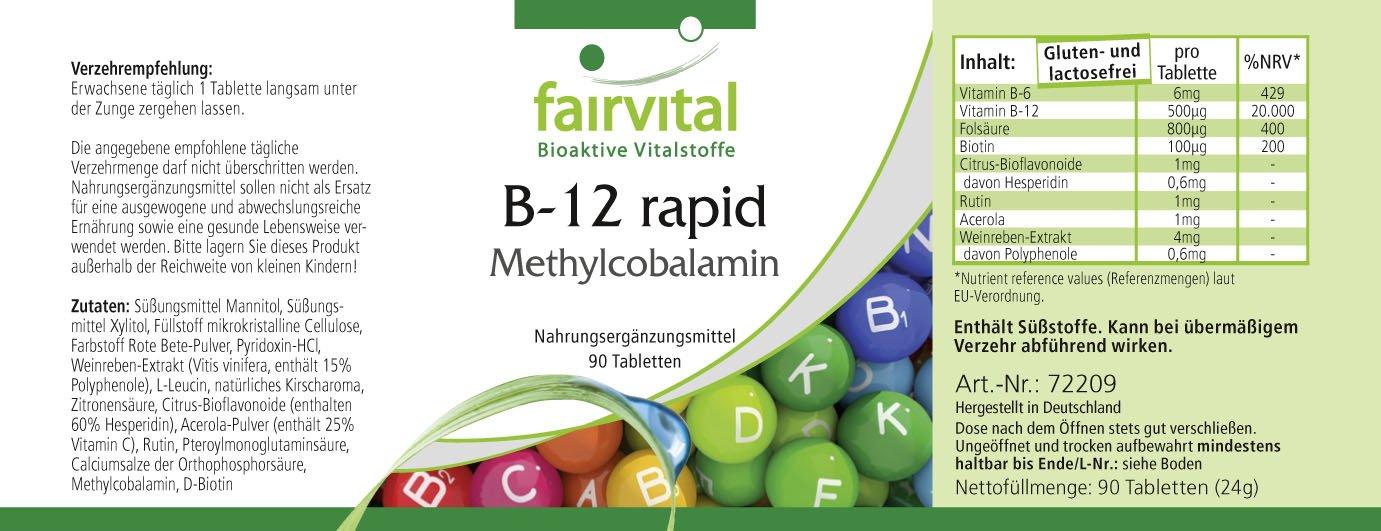 B-12 metilcobalamina - Bote para 3 meses - VEGANO - 90 comprimidos - absorción rápida a través de la mucosa oral: Amazon.es: Salud y cuidado personal
