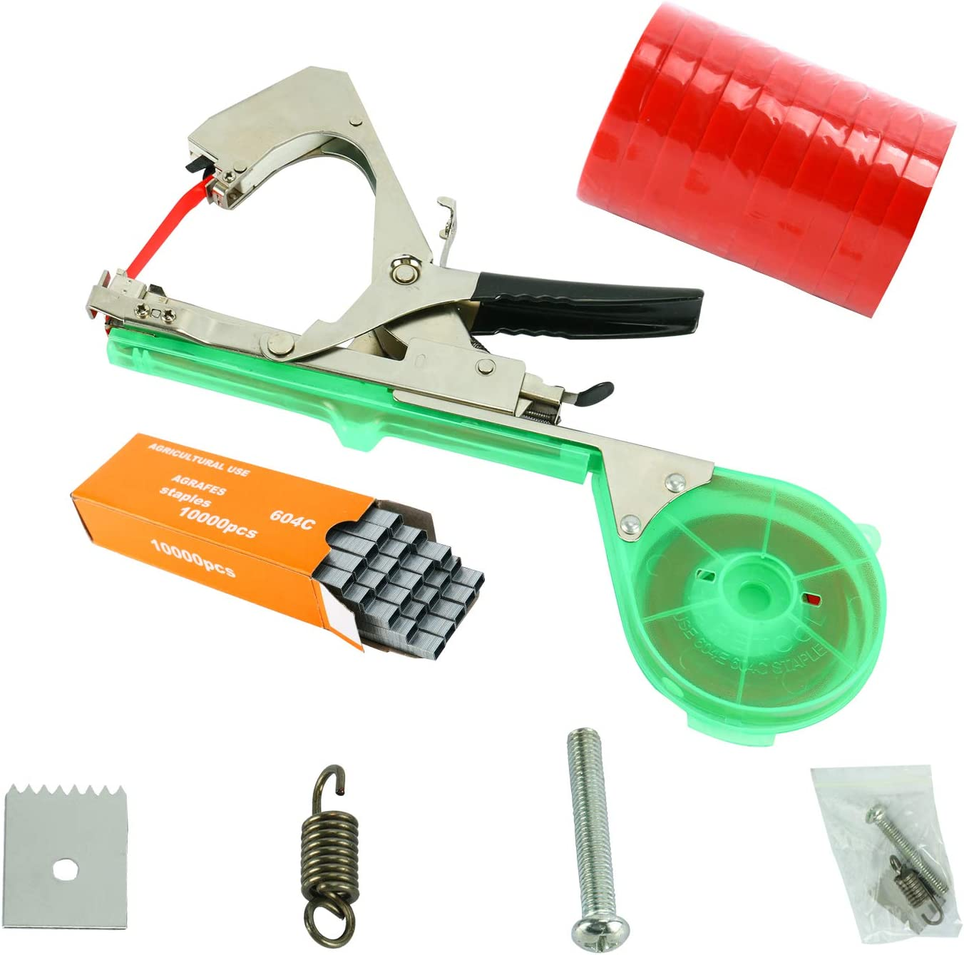 Homend Tying Machine for Plant and Garden Plant Tapetool Tapener with 10 Rolls Tape Set and 10000pcs Staples for Vegetable, Grape, Tomato,Cucumber, Pepper and Flower