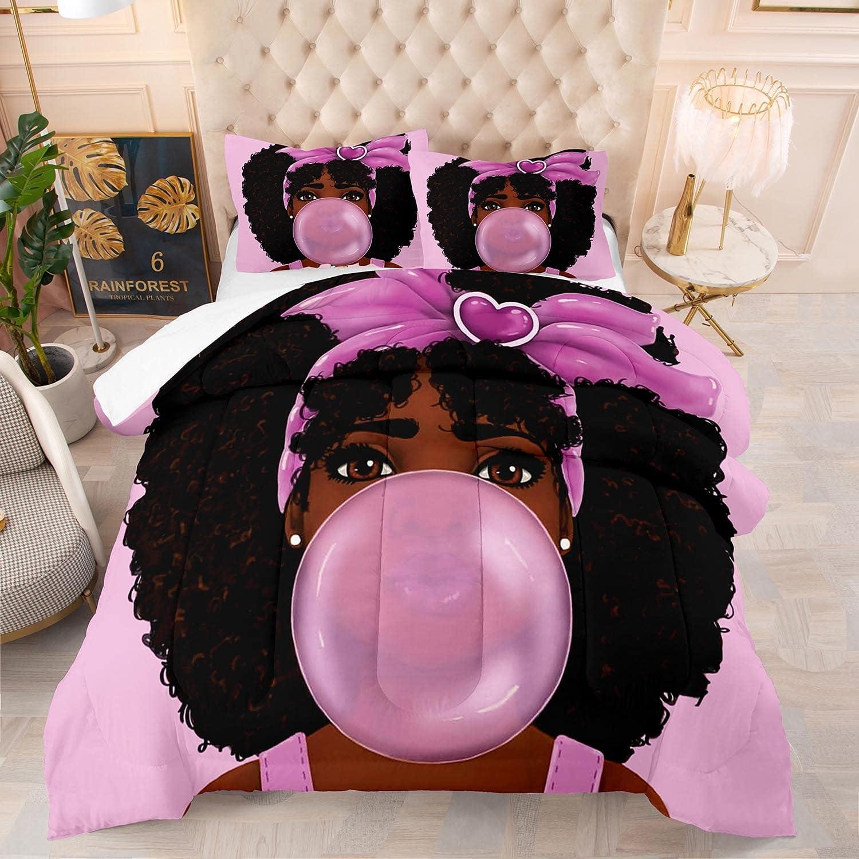 African American Black Girl Magic Comforter Set Cute Afro Black Girls Bubble Gum Bedding Quilt Sets Twin Size Pink Duvet Set,1 Comfoter +1 Pillowcase