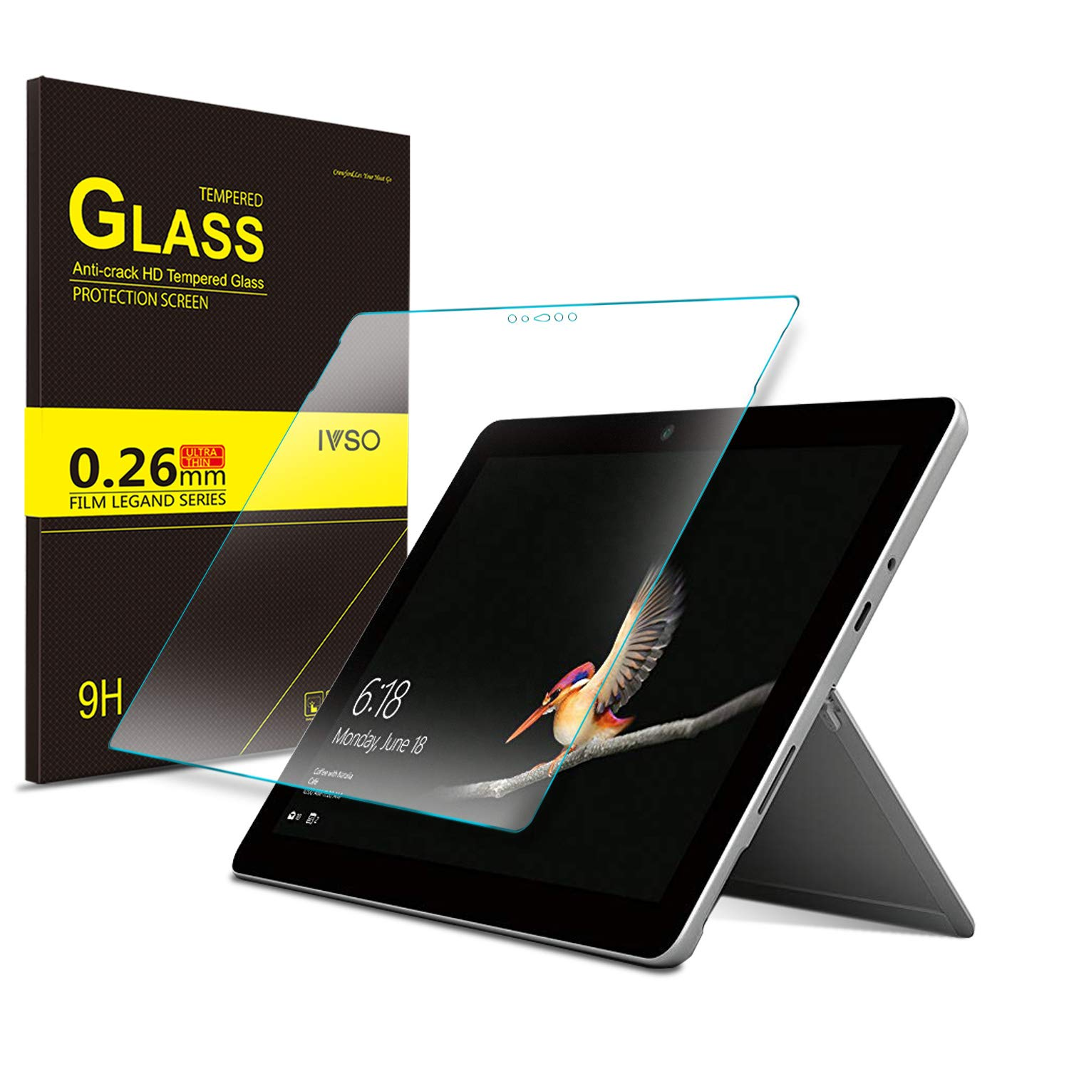 IVSO Screen Protector for Microsoft Surface GO 10-Inch, Clear Tempered-Glass Flim Screen Protector for Microsoft Surface GO 10 inch 2018, 1 Pack