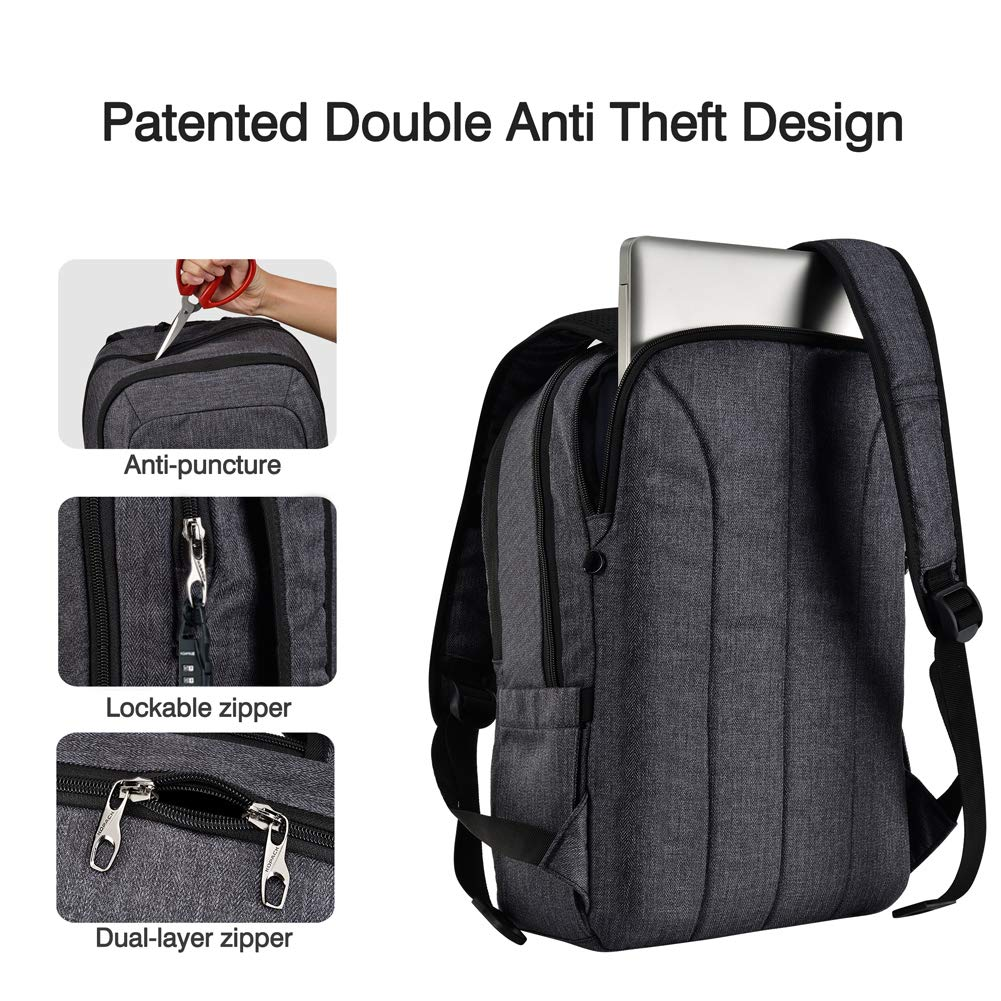 e6f314932db Amazon.com: Kopack Laptop Backpack Men USB Port Slim Business Computer  Backpack Anti-Theft Water Resistant Travel Laptop Bag Lightweight 15 15.6  inch Gray ...