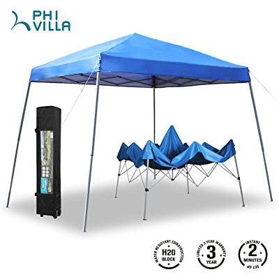 PHI VILLA 12'x12' Slant Leg UV Block Sun Shade Canopy with Hardware Kits, Shade for Patio Outdoor Garden Events, Blue : Garden & Outdoor