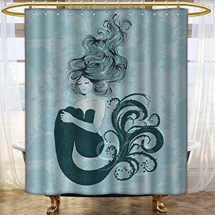 Anhounine Mermaid Fabric Shower Curtains Sleeping Design With Wavy Hair Hand Drawn Effect Grungy Backdrop