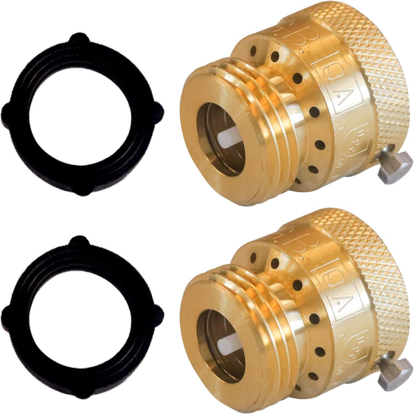 Hourleey Faucet Vacuum Breaker, Solid Brass Hose Bib Backflow Preventer, 3/4 Inch