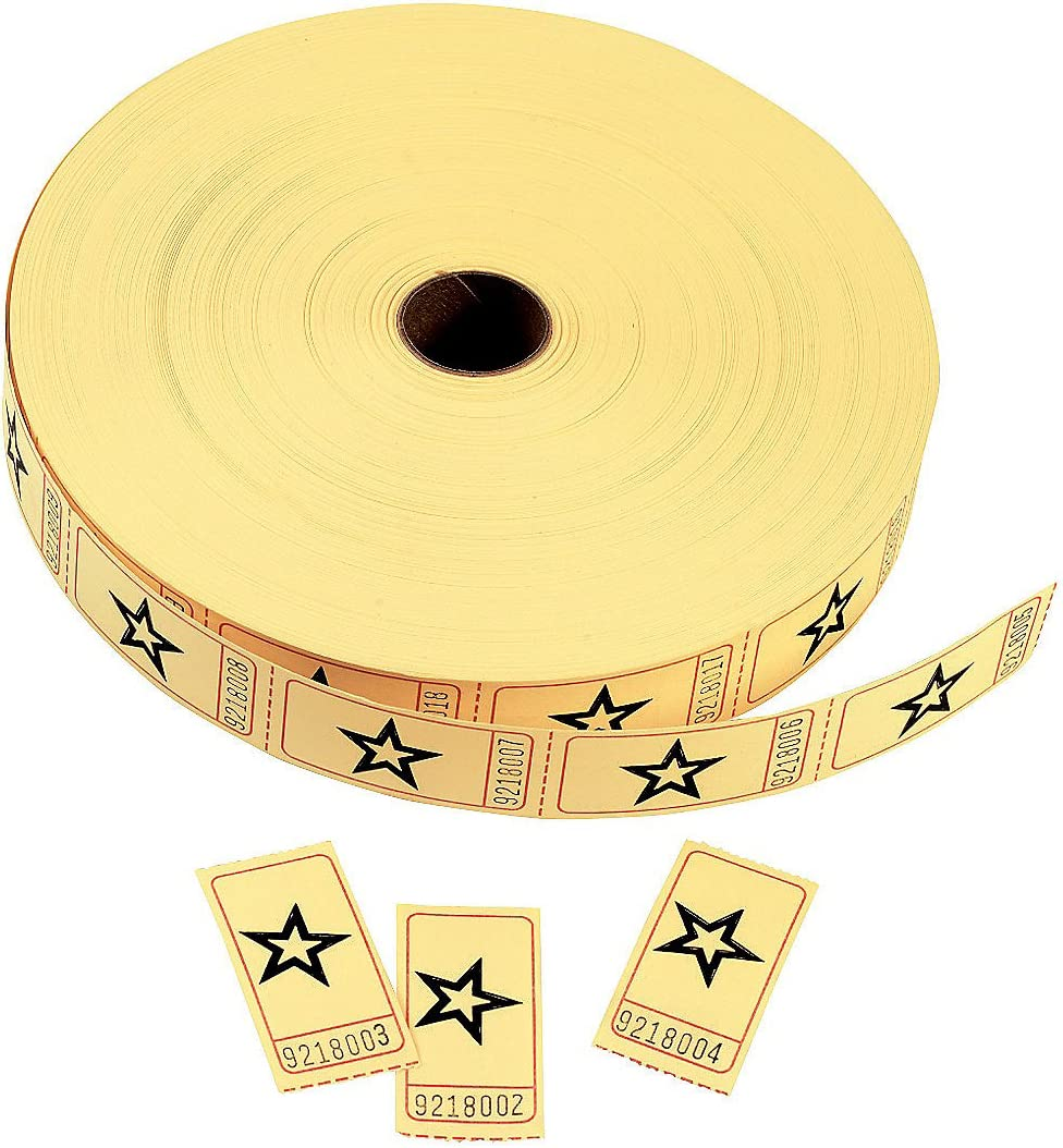 Yellow Star Single Roll Tickets (2000 Tickets per roll) Party Supplies