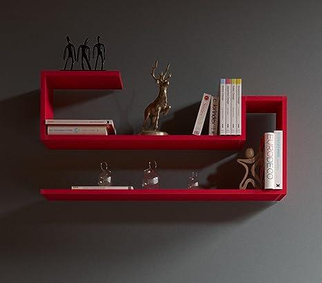 WAVE Mensola da muro - Mensola Parete - Mensola Libreria - Scaffale pensile  per studio / soggiorno in Design moderno (Rosso)