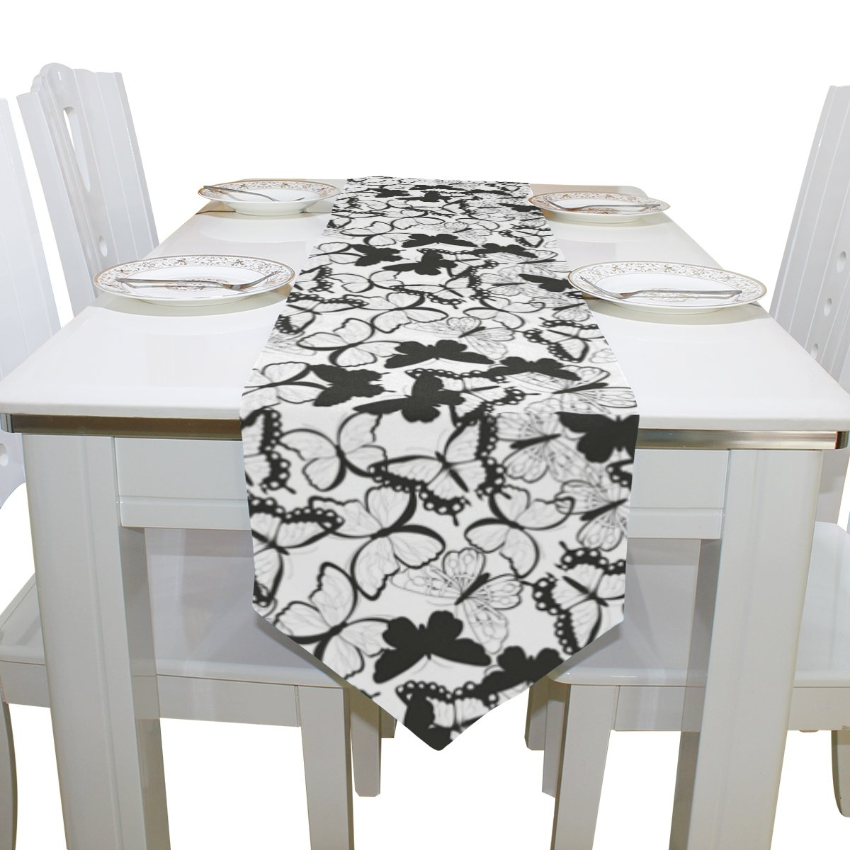 Blue Viper Butterflies Black And White Table Runner Home Décor for Weddings, Dinners, Parties, or Summer BBQ Double-Sided Printing 13x70 Inches