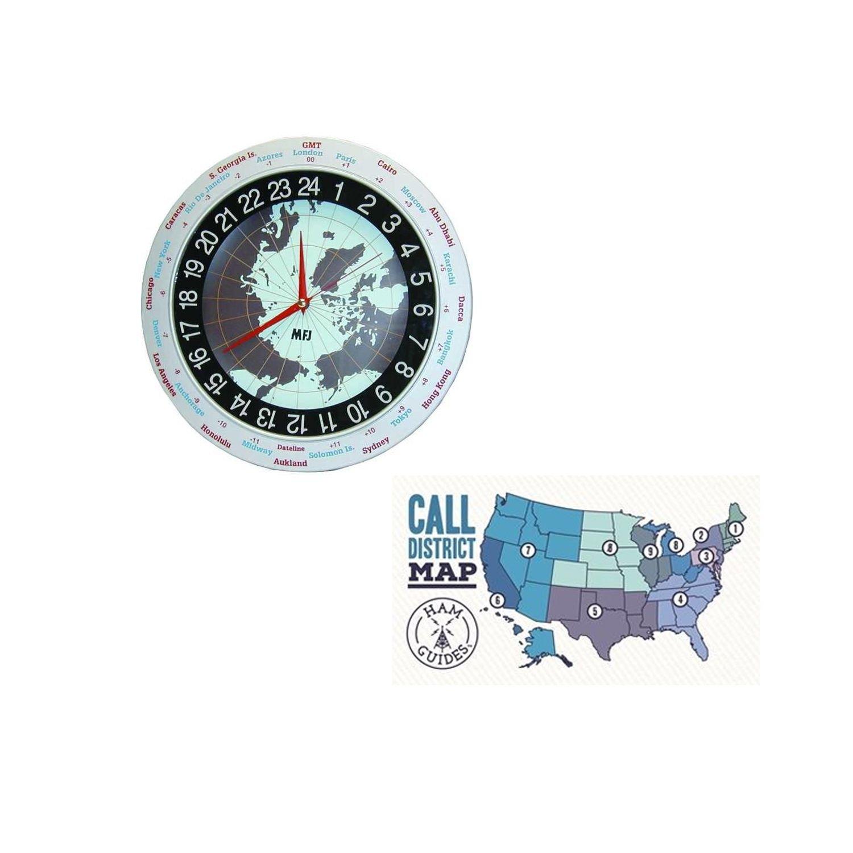 MFJ Clock, 12/24-hour, analog, 12in and Ham Guides TM Pocket Reference Card Bundle