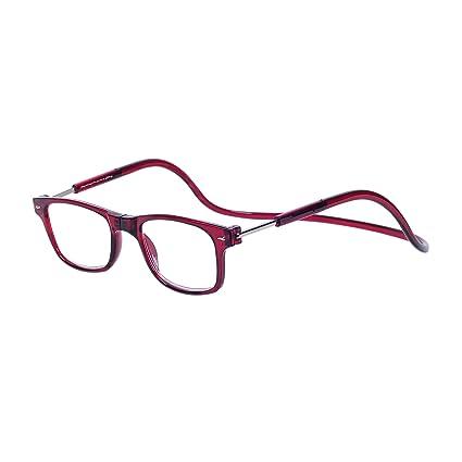 97725c6690 Magnéticas Gafas de lectura Plegables Rojo +2.0 QIXU Presbicia Vista para  Hombre y Mujer Montura