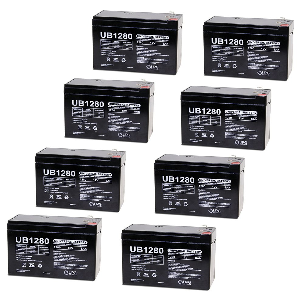12V 8Ah Sealed Emergency Light Battery for General 01280 (CF12V8) (WKA12-8F) - 8 Pack