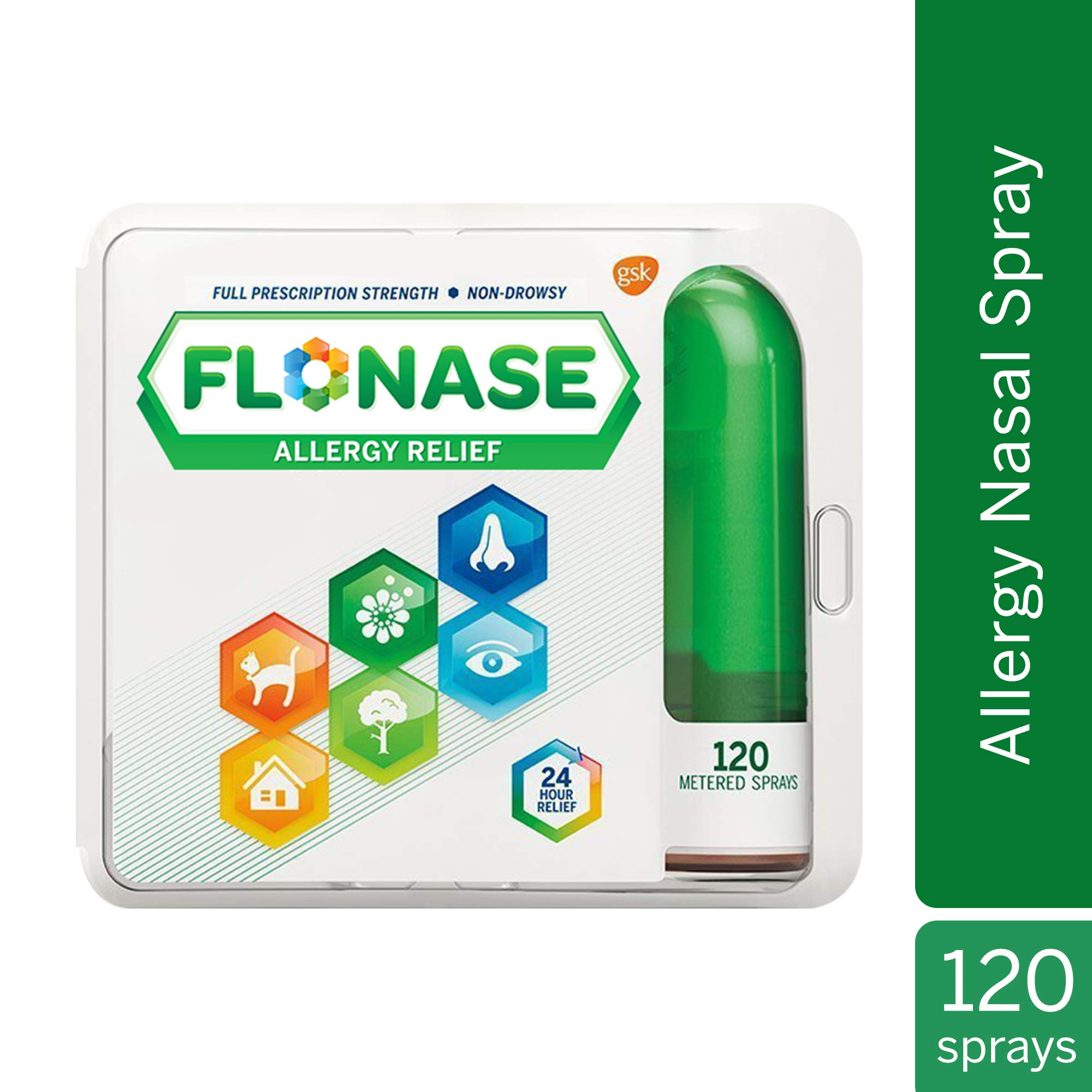 Flonase Nasal Spray for Allergy Relief, 24-Hour Non-Drowsy Allergy Medicine, 120 Sprays by Flonase
