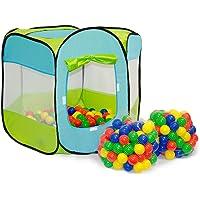 LittleTom Tente de Jeu Pop-up 100x100x72cm INCL 200 Boules en Plastique Bleu