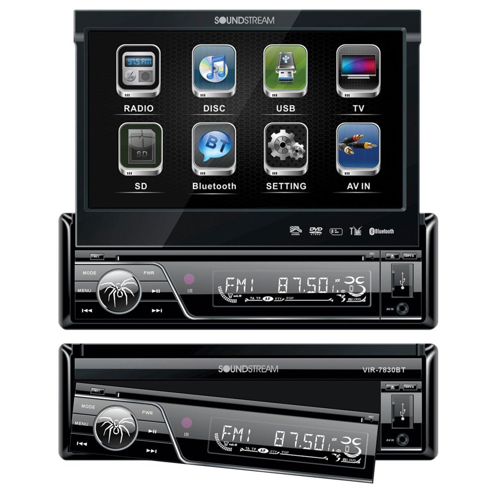 Soundstream VIR-7830B 1 DIN DVD/CD/MP3 Player Flip-Out Up Screen Bluetooth W Pioneer TS-165P + TS-695P Two Pairs 200W 6.5'' + 230W 6x9'' Car Audio 4 Ohm Component Speakers by Cache, Soundstream, Pioneer (Image #2)
