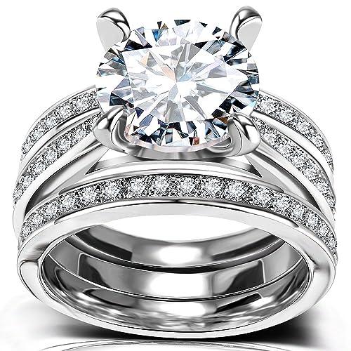 Infinity Cubic Zirconia Bridal Set Big Round Cz White Gold Plated Women Engagement Wedding Ring Set