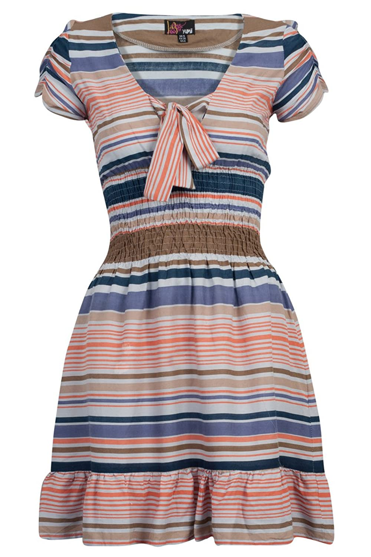 Yumi Womens New Blue Coral Striped Elasticated Waist Bow Ladies Dress
