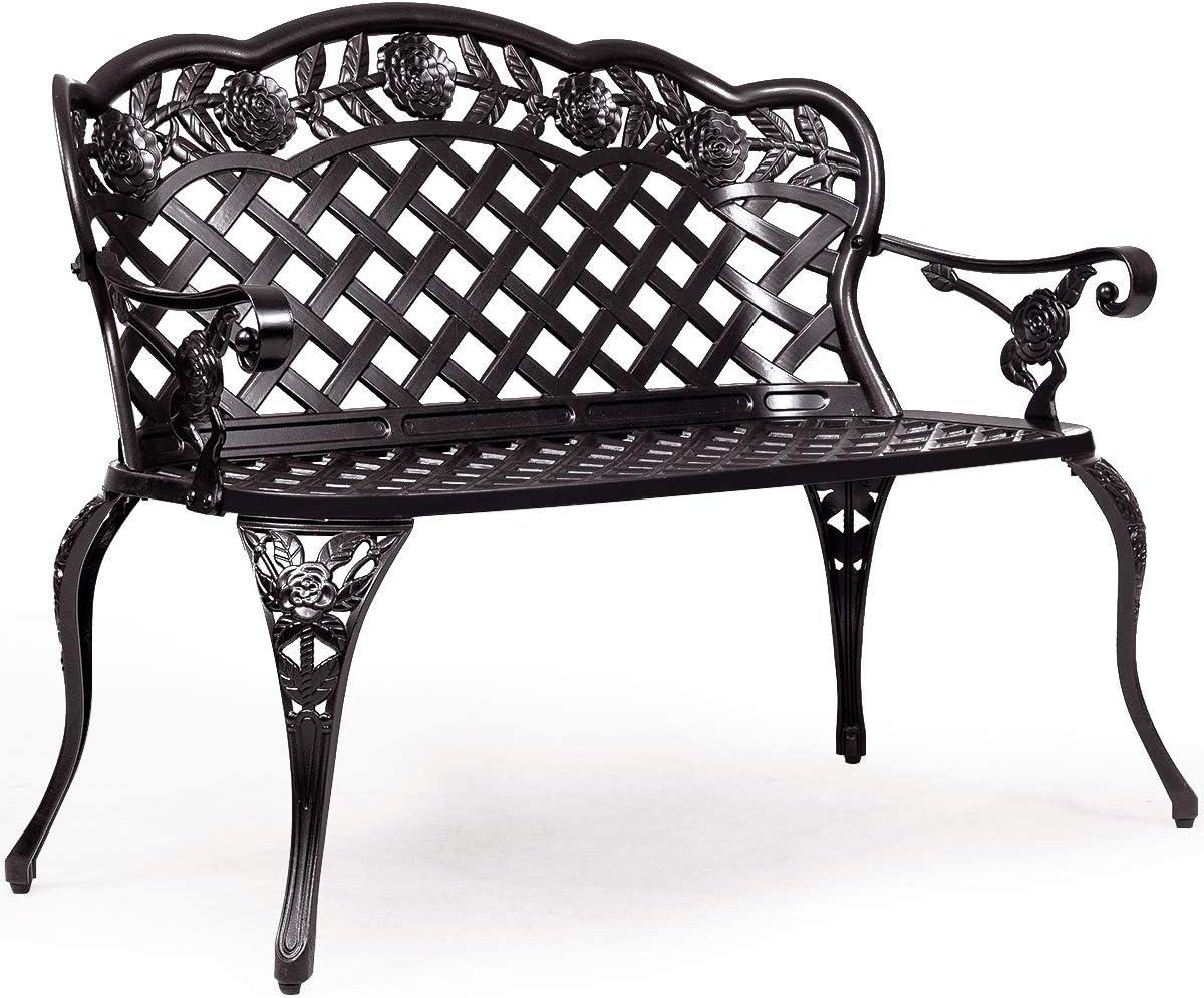 Giantex 42.5 Patio Garden Bench Cast Aluminum Park Yard Seating Antique Outdoor Furniture Seat, Rose Design