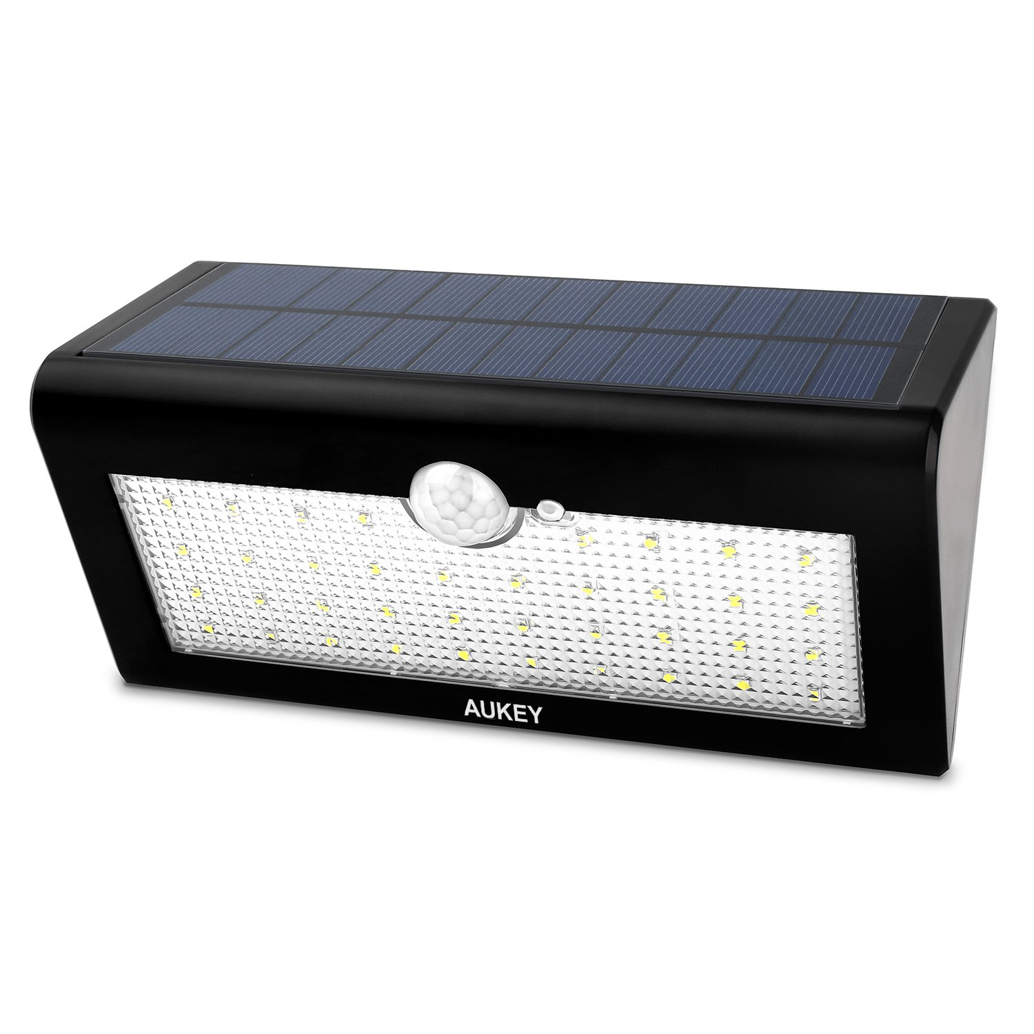 aukey led solar wandleuchte solarlampe mit bewegungsmelder. Black Bedroom Furniture Sets. Home Design Ideas