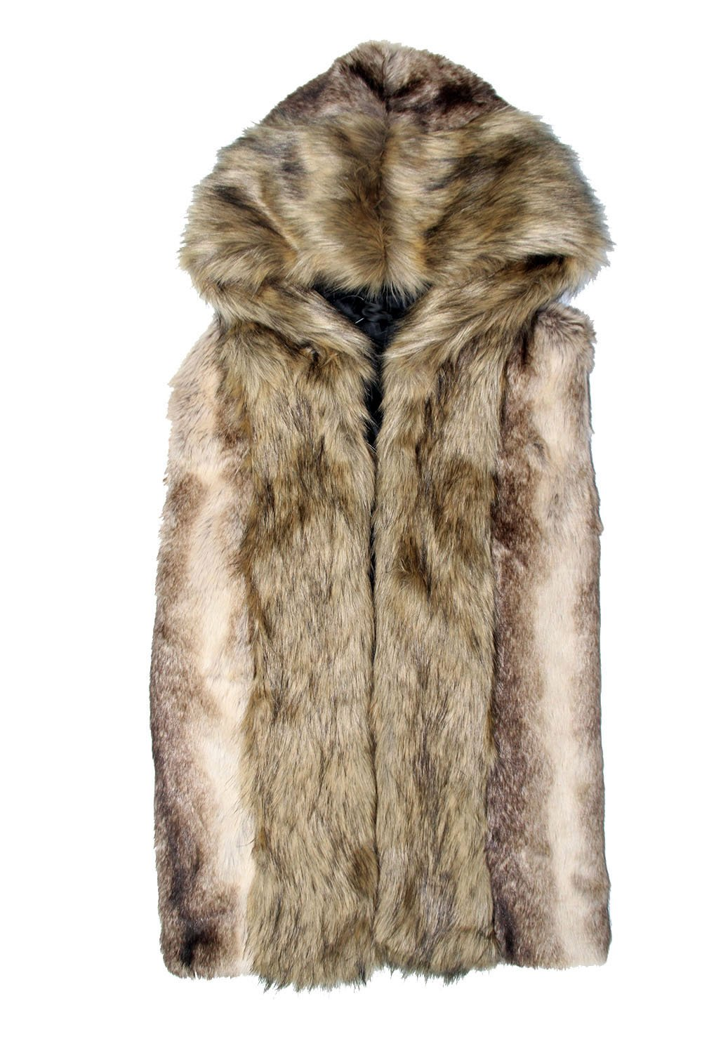 Idopy Men`s Luxury Faux Fur Sleeveless Jacket Vest with Hood Asian XL US M Grey by Idopy