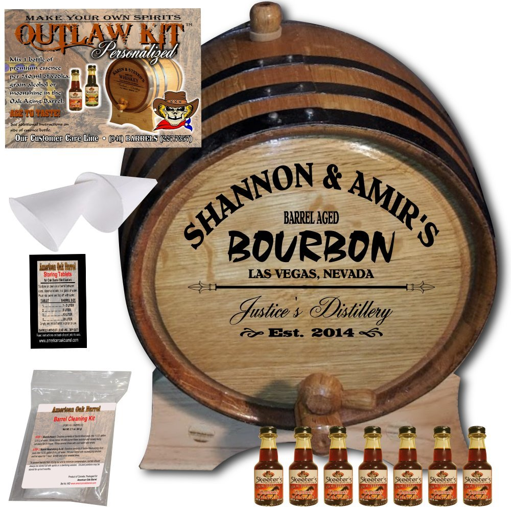 Personalized Whiskey Making Kit (062) - Create Your Own Kentucky Bourbon Whiskey - The Outlaw Kit from Skeeter's Reserve Outlaw Gear - MADE BY American Oak Barrel - (Oak, Black Hoops, 1 Liter) COK062KBW01LBK