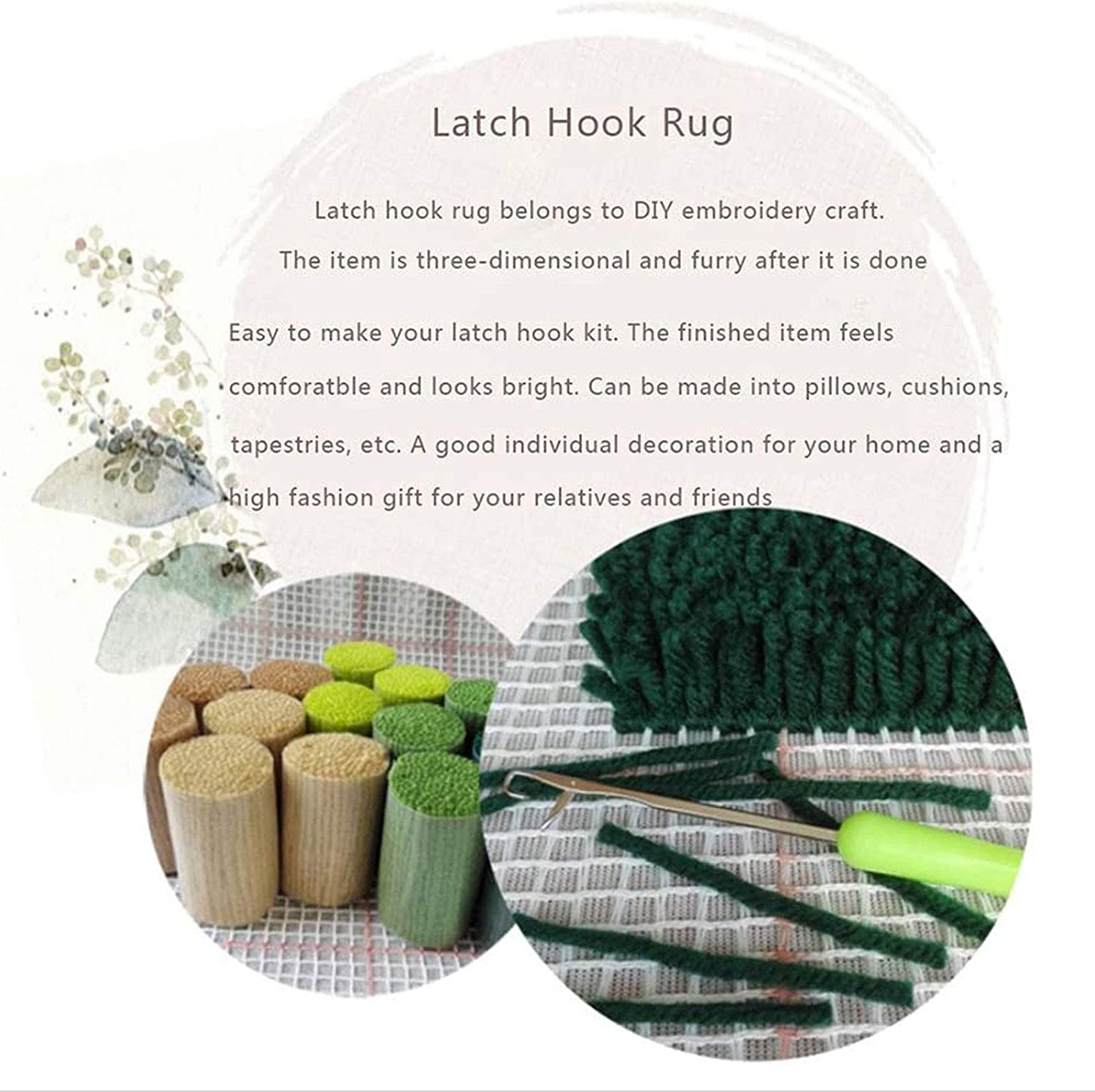 Latch Hook Rug Kits with Pre-Printed Pattern for Adults and Kids 20.5X15,Dog,52/×38CM