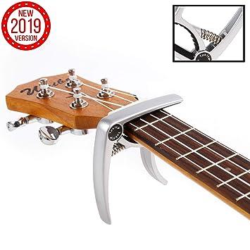 TAKIT Cejilla para Guitarra Acústica y Eléctrica - GARANTÍA DE POR VIDA - Apta para Ukelele, Banjo y Mandolina - Profesional, Alto Rendimiento - ...