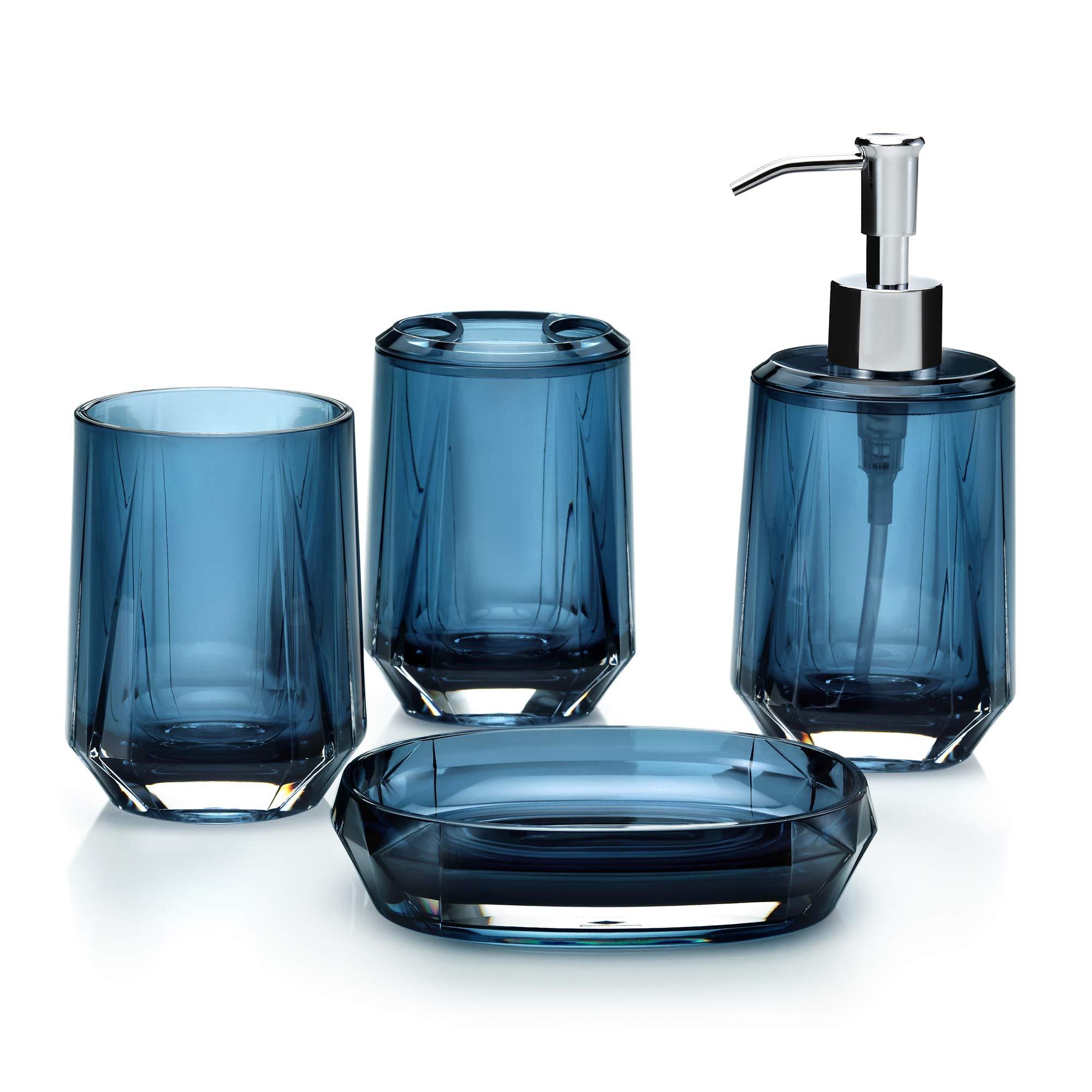IMMANUEL Blink 4 Piece Bathroom Accessory Set - Blue