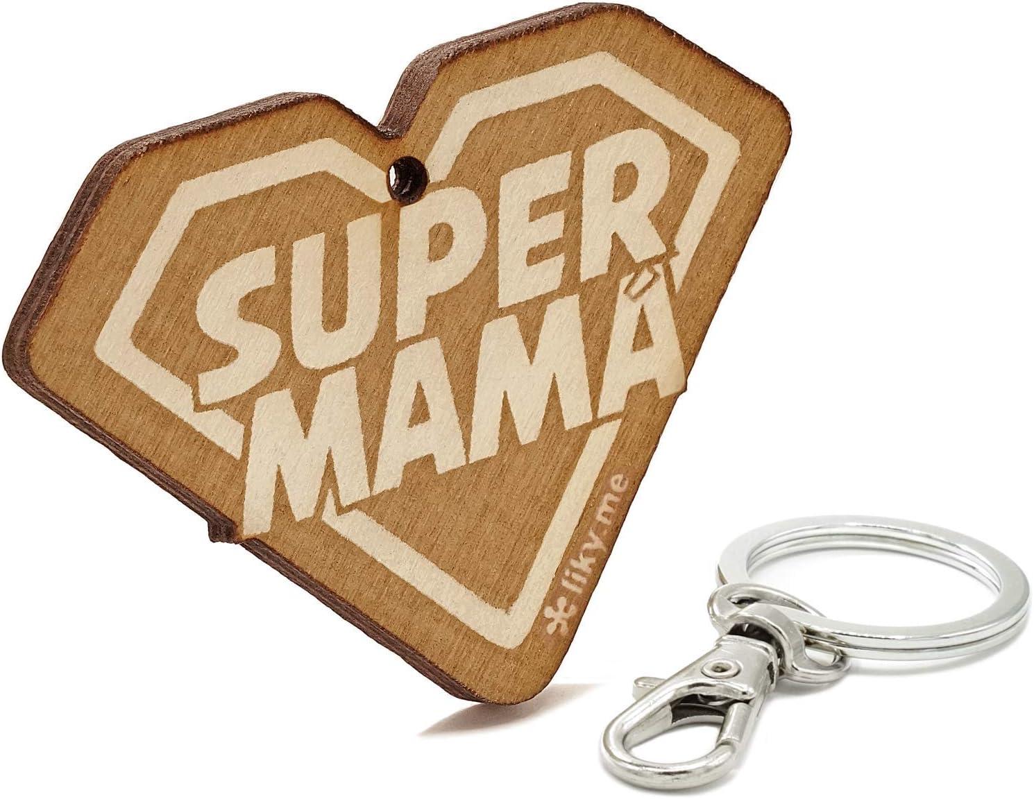 LIKY® Super Mamá - Llavero Original de Madera Grabado Regalo para día de la Madre cumpleaños joyería Colgante Bolso Mochila