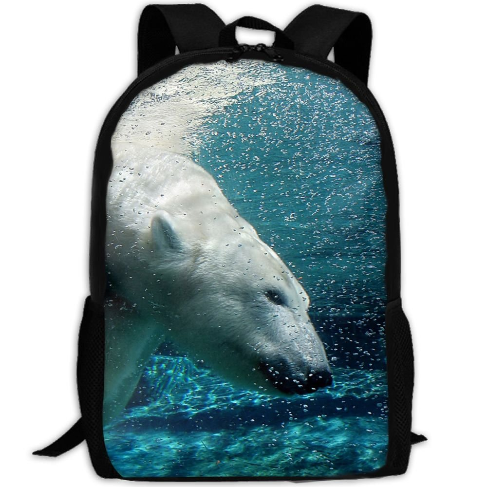 CY-STORE Polar Bear Swims Underwater Animal Outdoor Shoulders Bag Fabric Backpack Multipurpose Daypacks For Adult