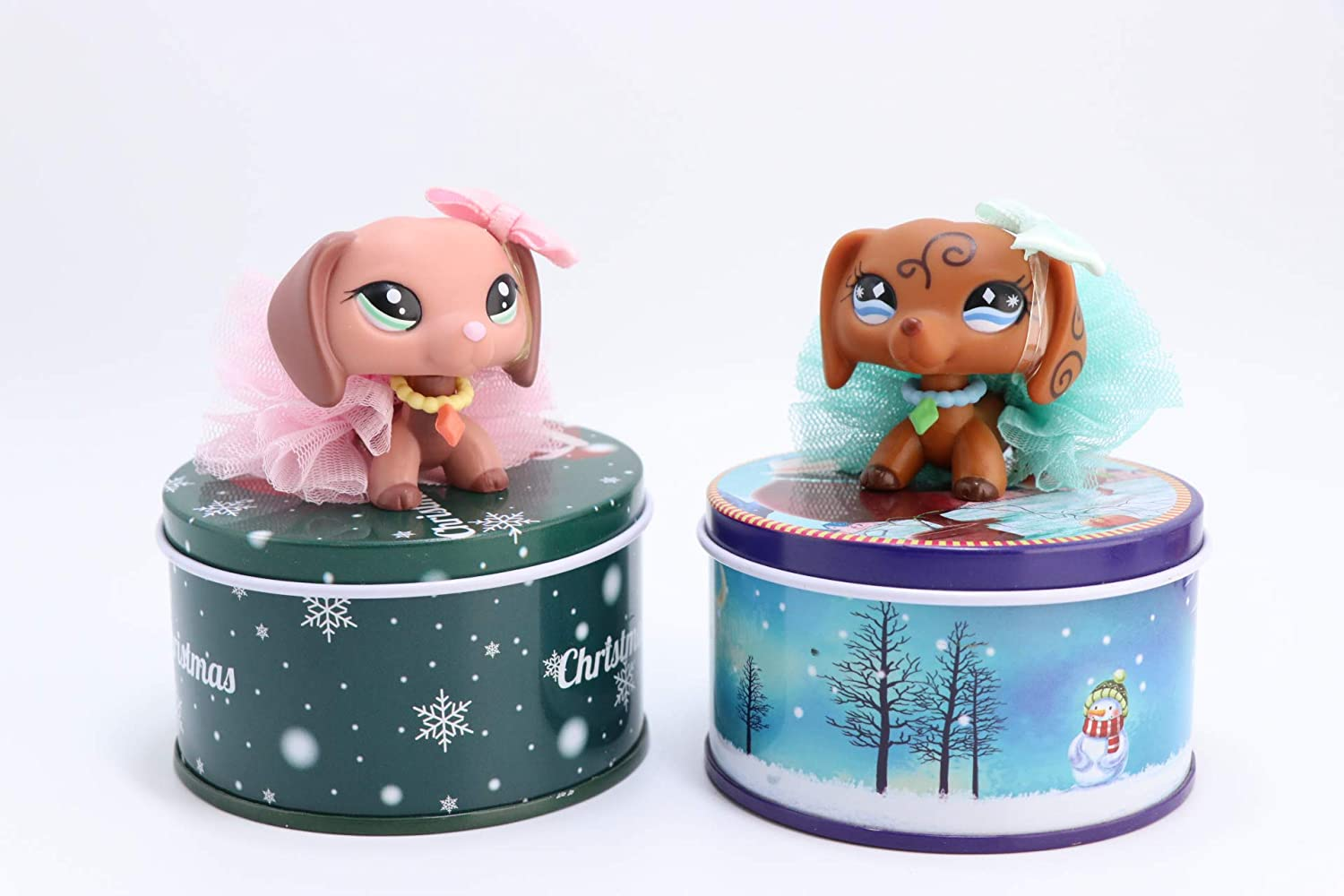 Toy Rare LPS Dachshund 640 2046 with Accessories Lot Bow Skirt Collar with Carry Box Collection Figure Girls Boys Christmas Gift