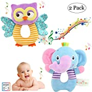 ORZIZRO Hand Grasp Owl and Elephant Soft Rattle Toys for Newborn Infant 0-36 Months, Cute and Safe Plush Rattle Toys for Baby Boys & Girls