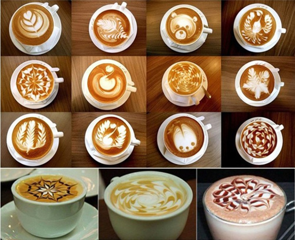Chytaii 16pcs Molde de Lujo Plástico Café de Fancy Plantilla de Espuma de Leche de Café Engrosamiento Flor de Café Modelo de Patrón Diseño de Patrón de Café ...