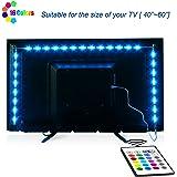 TV-LED-Backlight,Maylit Pre-Cut 6.56ft LED Strip Lights for 40-60in TV,4PCS USB Powered TV Lights kit with Remote,RGB Bias Lighting for Room Decor