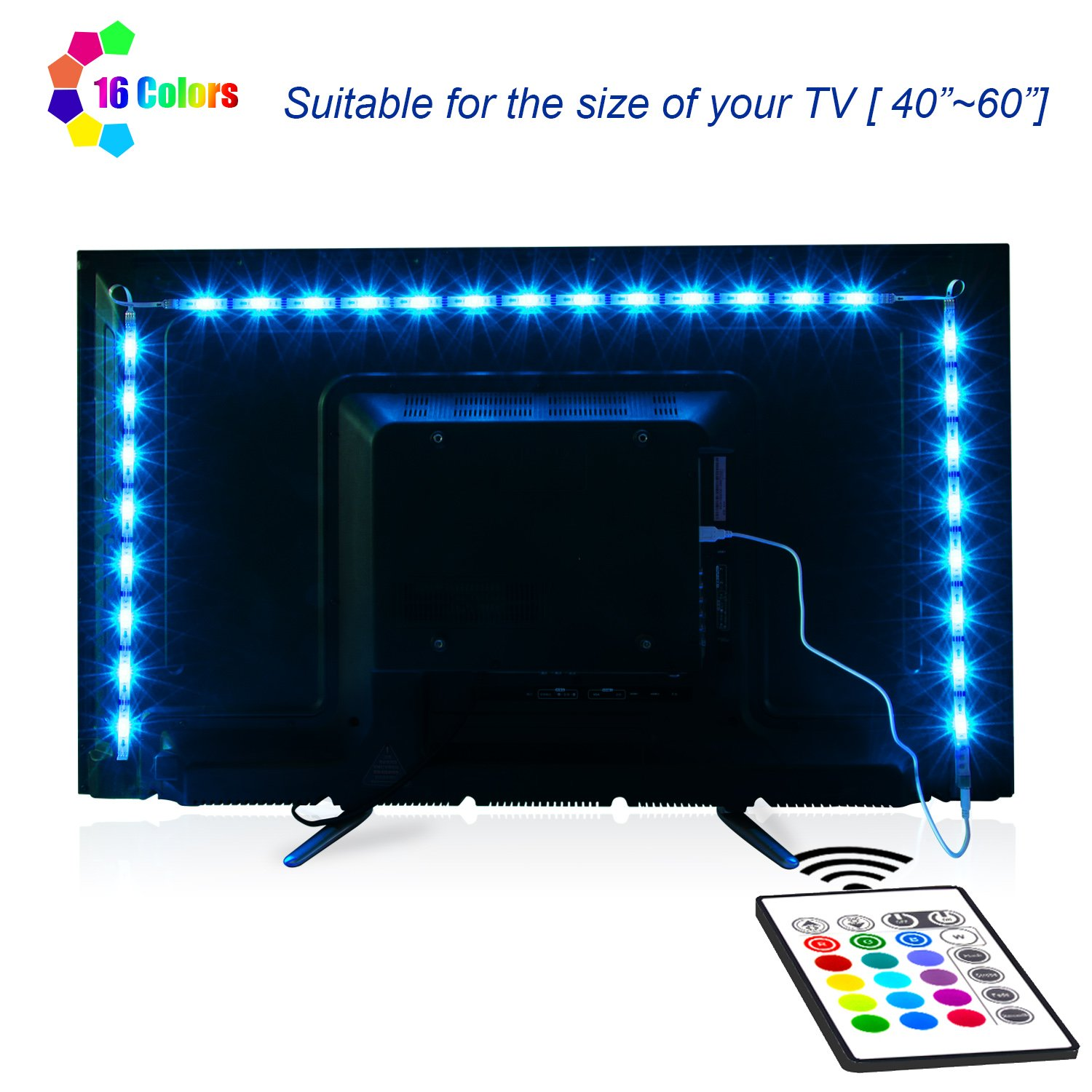 LED TV Backlight, Maylit 2M/6.56ft RGB Neon Accent LED Lights Strips for 40 to 60 in HDTV Neon Light Bias Lighting with Remote, USB LED Strips TV Backlight